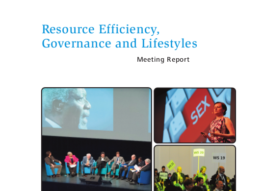 New WRF 2013 report on Resource Efficiency, Governance and Lifestyles now available