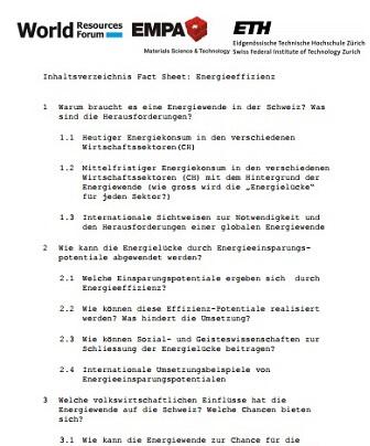 Energieeffizienz (Energy Efficiency) Factsheet Switzerland (in German)